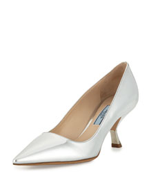 Patent Inverted-Heel 65mm Pump, Silver (Argento)