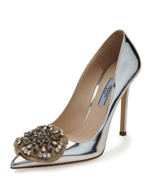 Metallic Crystal-Medallion 110mm Pump, Silver (Argento)