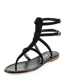 Pinked Suede Flat Gladiator Sandal, Black (Nero)