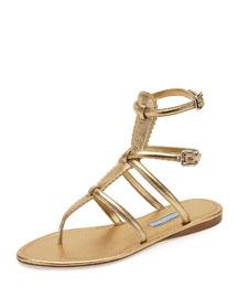 Flat Metallic Thong Gladiator Sandal, Platinum (Platino)
