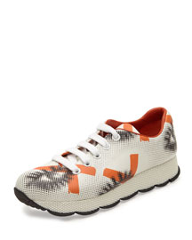 Eye-Print Perforated Leather Sneaker, White/Orange (Bianco/Arancio)