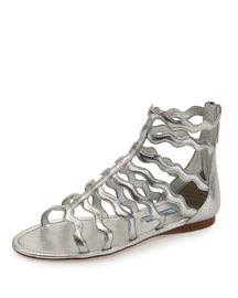Wavy-Caged Flat Metallic Sandal, Silver (Argento)