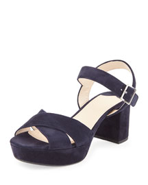 Crisscross Suede Platform Sandal, Blue