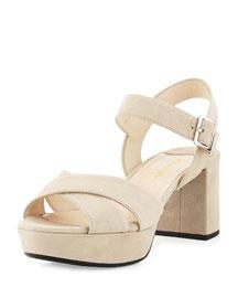 Suede Crisscross Platform Sandal, Quarzo