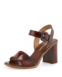 Burnished Leather Two-Band Sandal, Tobacco
