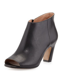 Open-Toe Leather Bootie, Black