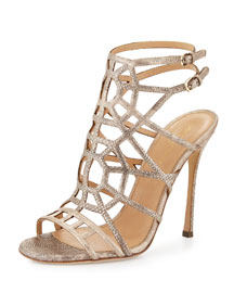 Puzzle Leather 110mm Sandal, Pale Rose