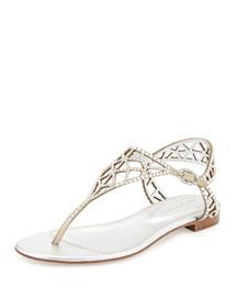 Crystal-Embellished Flat Sandal, Silver