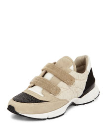 Monili Grip-Strap Leather Sneaker, Sand