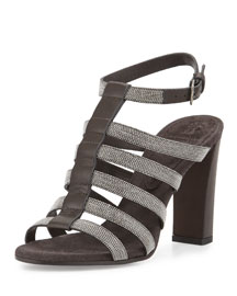 Monili Strappy 95mm Sandal, Graphite