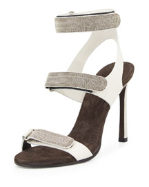 Three-Strap Monili Leather Sandal, Graphite