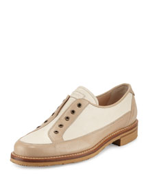 Laceless Colorblock Leather Oxford, Beige