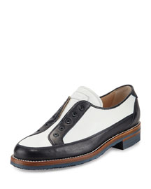 Laceless Colorblock Leather Oxford, White/Navy