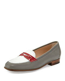 Colorblock Leather Penny Loafer, Gray/White/Red