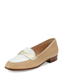 Colorblock Leather Penny Loafer, Beige/White/Yellow