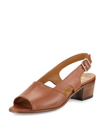 Leather Slingback Mid-Heel Sandal