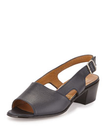 Leather Slingback Mid-Heel Sandal, Navy