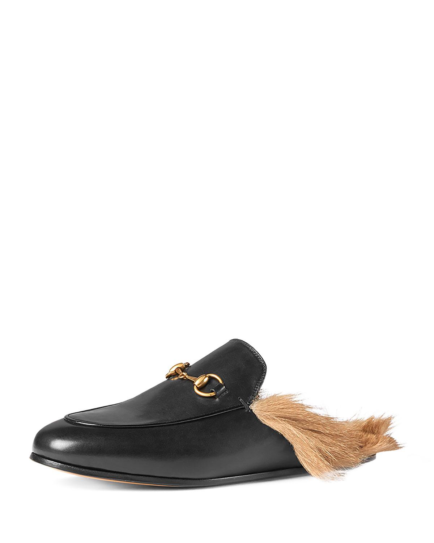 Gucci Princetown Fur-Lined Mule, Black (Nero), Women's, Size: 40.5B/10.5B