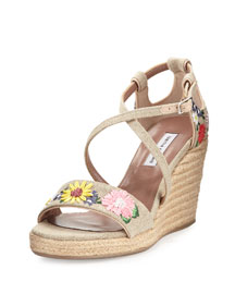 Liu Embroidered Linen Wedge Sandal, Natural