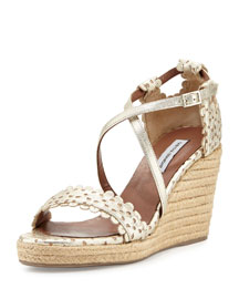Harlow Eyelet Leather Wedge Sandal, Champagne