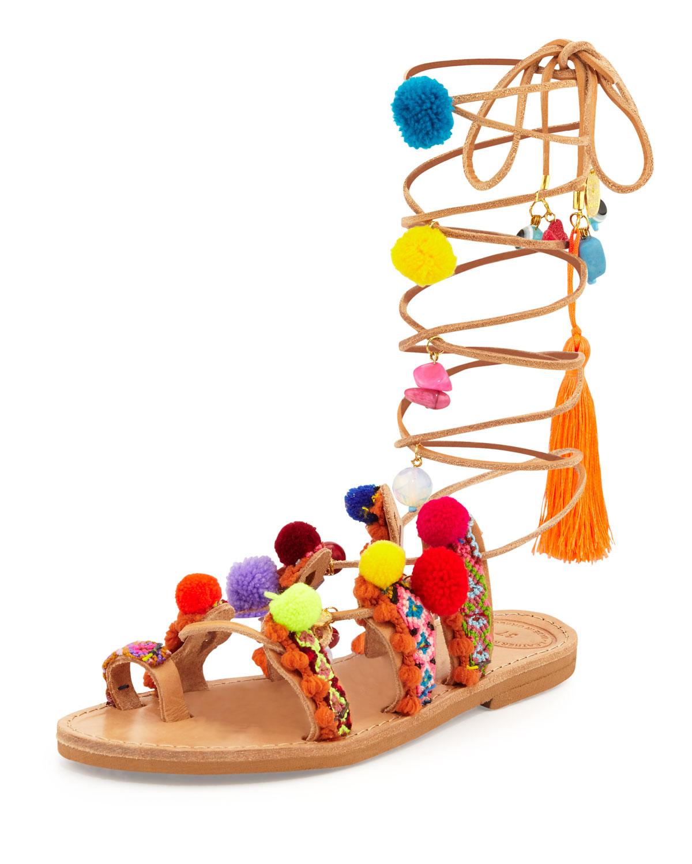 Elina Linardaki Penny Lane Pompom Gladiator Sandal, Multi, Size: 38.0B/8.0B, Multi Colors