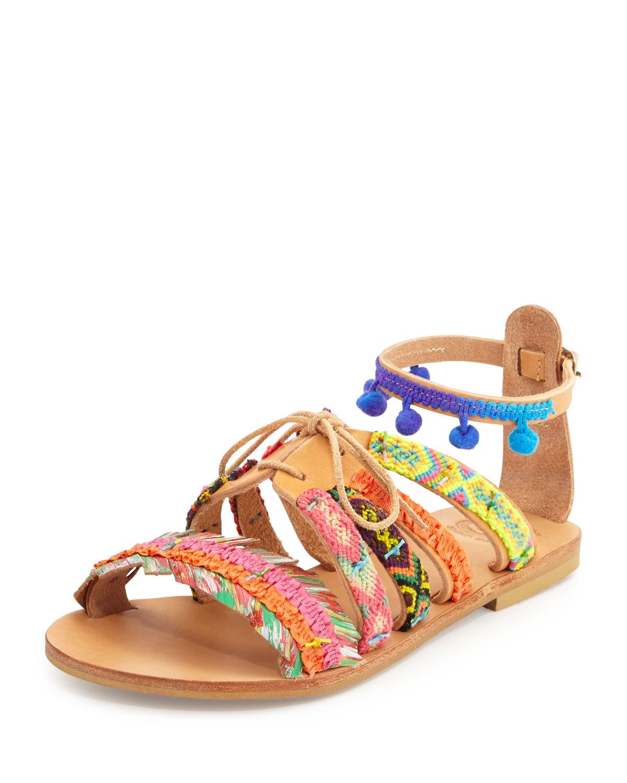 Elina Linardaki Hula Hoop Woven Pompom Sandal, Multi Colors