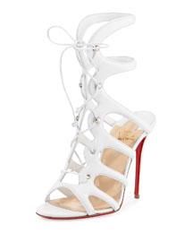 Amazoula Lace-Up Red Sole Sandal, White