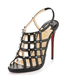 Guinievre Caged Leather Red Sole Sandal, Black/Gunmetal