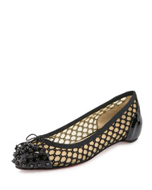 Mix Patent Knotted Red Sole Ballerina Flat, Black