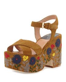 Helissa Floral Suede Platform Sandal, Camel