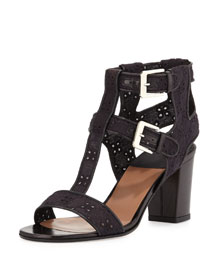 Diane Cotton Eyelet Cage Sandal, Black