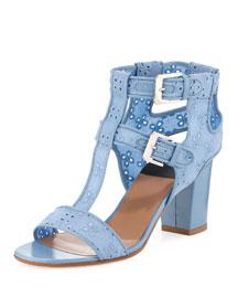 Diane Cotton Eyelet Cage Sandal, Blue