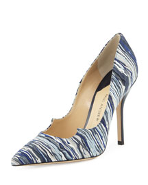 Zenadia Layered Suede 105mm Pump, Indigo