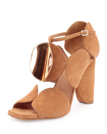 Circle-Cut Suede Block-Heel Sandal, Tan