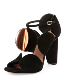 Circle-Cut Suede Block-Heel Sandal, Black