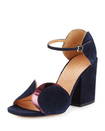 Circle-Cut Suede Block-Heel Sandal, Navy