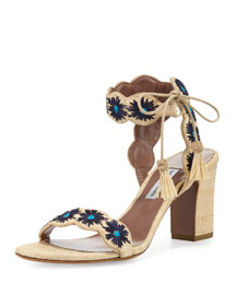 Ollie Floral-Embroidered Raffia Sandal, Natural/Marine