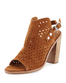 Wyatt Perforated Suede Sandal, Tan