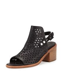Wyatt Perforated Leather City Sandal, Black