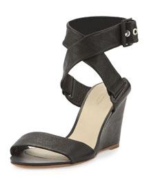 Damien Leather Wedge Sandal, Black
