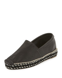 Noa Handmade Leather Espadrille Flat, Black