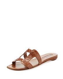 Grella Pieced Snakeskin Flat Slide Sandal, Camel