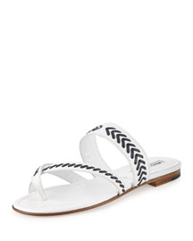 Susa Stitched Leather Sandal, White/Navy