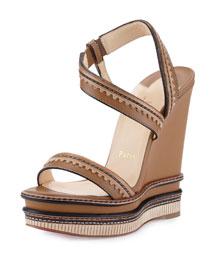 Trepi Platform Wedge Sandal, Hazelnut (Noisette)