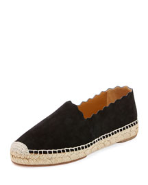 Scalloped Suede Espadrille Flat, Black