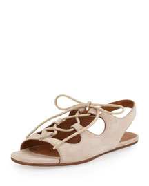 Suede Lace-Up Flat Sandal, Creme Puff