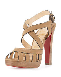 Trescity Stitched 120mm Red Sole Sandal, Hazelnut/Beige