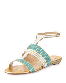 Very Sekmet Flat T-Strap Red Sole Sandal, Pacific