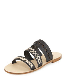Recioto Three-Band Flat Slide Sandal, Black