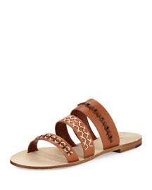 Recioto Three-Band Flat Slide Sandal, Light Brown